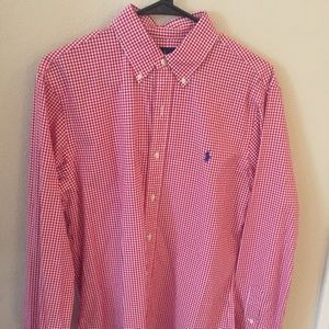 Polo by Ralph Lauren Men Red/White Med Button Down